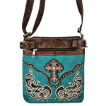 TURQUOISE STUDDED RHINESTONE CROSS WITH PATCHWORK LOOK MESSENGER BAG MB1-W46CRTRQ