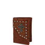 BROWN OSTRICH LEATHERETTE CROSS MENS TRIFOLD WALLET MW3-0413BRN