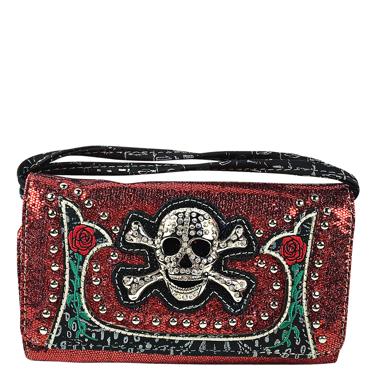 RED GLITTER SKULL LOOK CLUTCH TRIFOLD WALLET