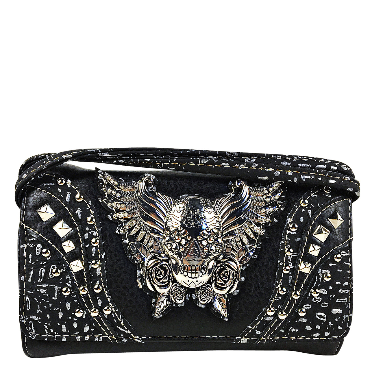 BLACK RHINESTONE STUDDED SKULL WITH WINGS LOOK CLUTCH TRIFOLD WALLET