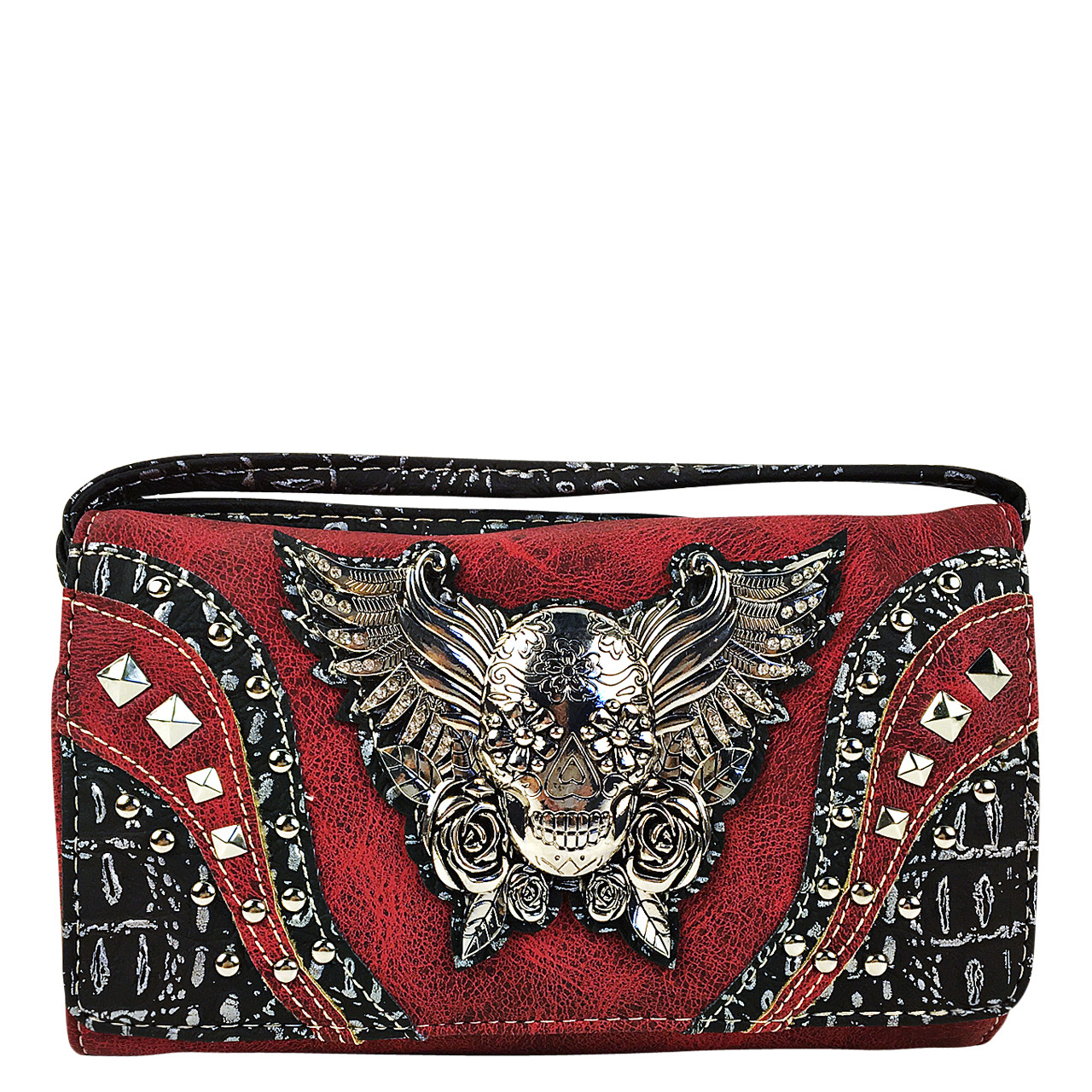 RED RHINESTONE STUDDED SKULL WITH WINGS LOOK CLUTCH TRIFOLD WALLET