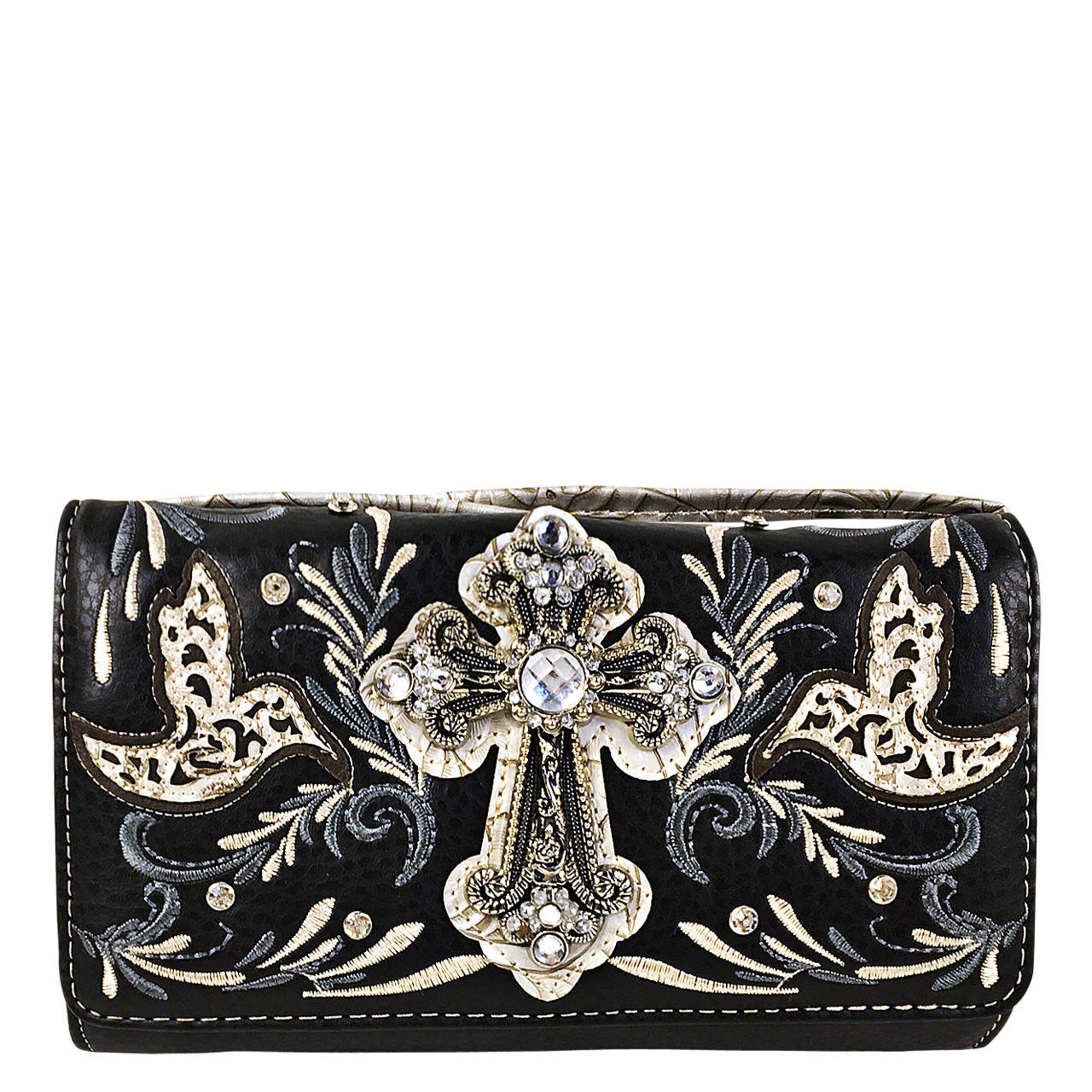 BLACK STUDDED RHINESTONE CROSS WITH STITCHED LOOK CLUTCH TRIFOLD WALLET