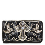 BLACK STUDDED RHINESTONE CROSS WITH STITCHED LOOK CLUTCH TRIFOLD WALLET CW1-0479BLK