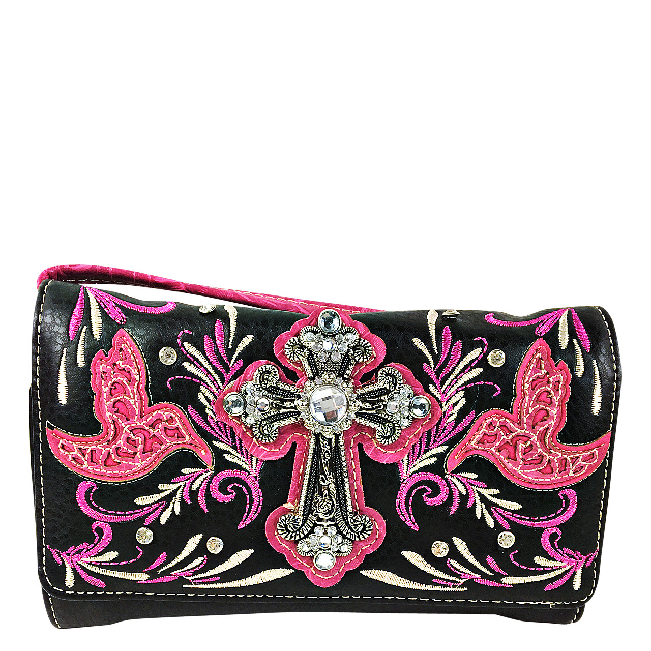 HOT PINK STUDDED RHINESTONE CROSS WITH STITCHED LOOK CLUTCH TRIFOLD WALLET