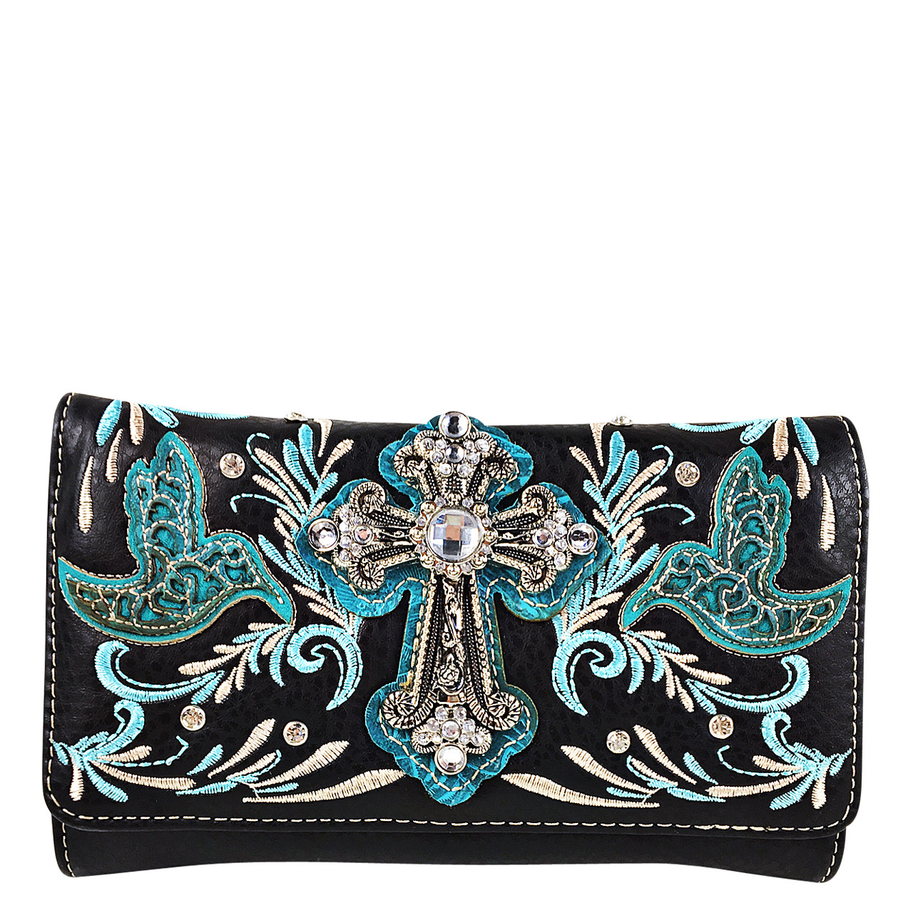 TURQUOISE STUDDED RHINESTONE CROSS WITH STITCHED LOOK CLUTCH TRIFOLD WALLET