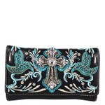 TURQUOISE STUDDED RHINESTONE CROSS WITH STITCHED LOOK CLUTCH TRIFOLD WALLET CW1-0479TRQ