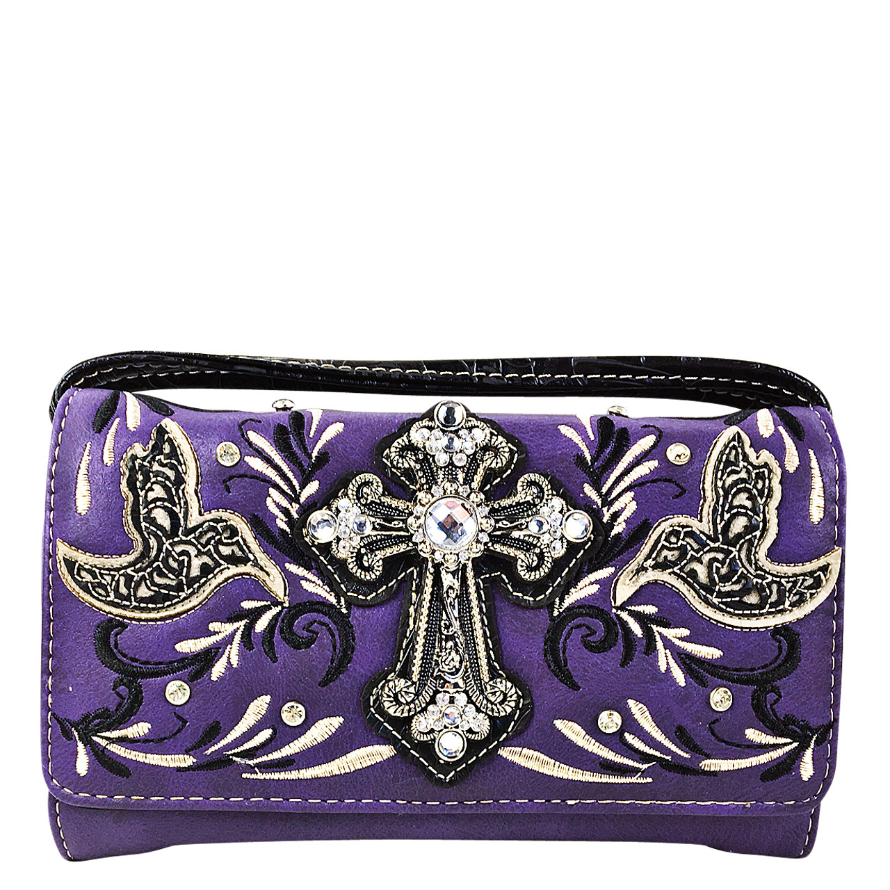 PURPLE STUDDED RHINESTONE CROSS WITH STITCHED LOOK CLUTCH TRIFOLD WALLET