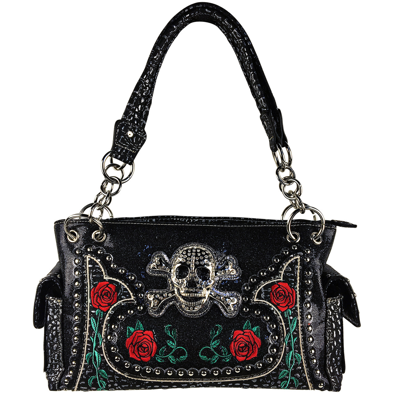 BLACK RHINESTONE GLITTER SKULL LOOK SHOULDER HANDBAG