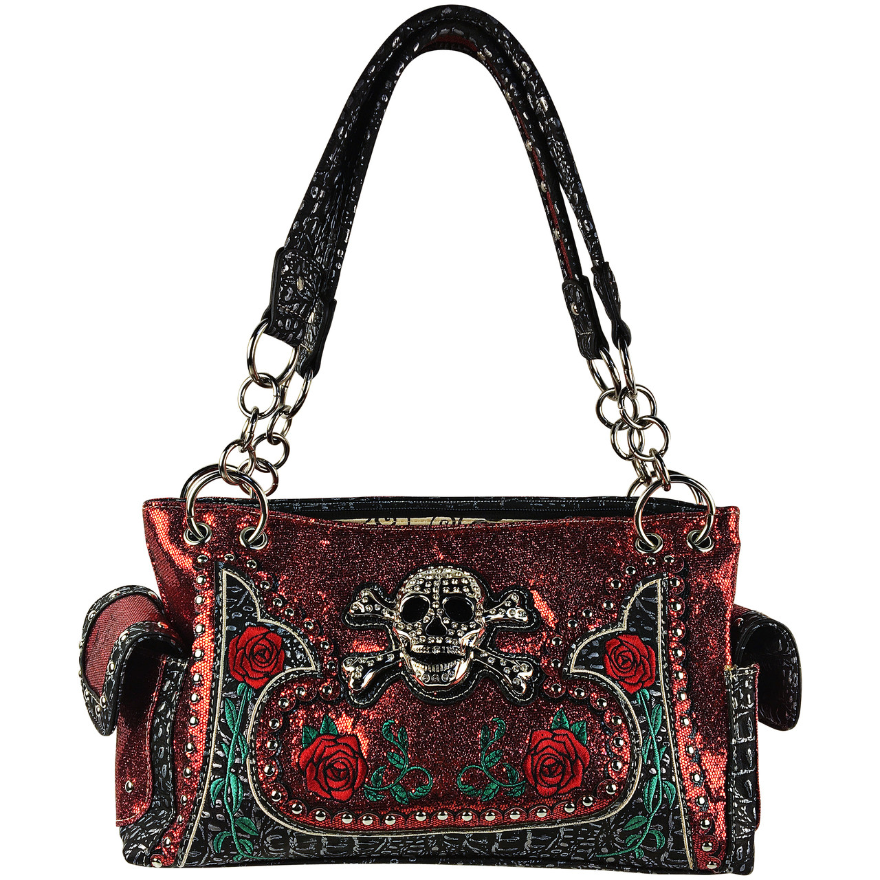 RED RHINESTONE GLITTER SKULL LOOK SHOULDER HANDBAG