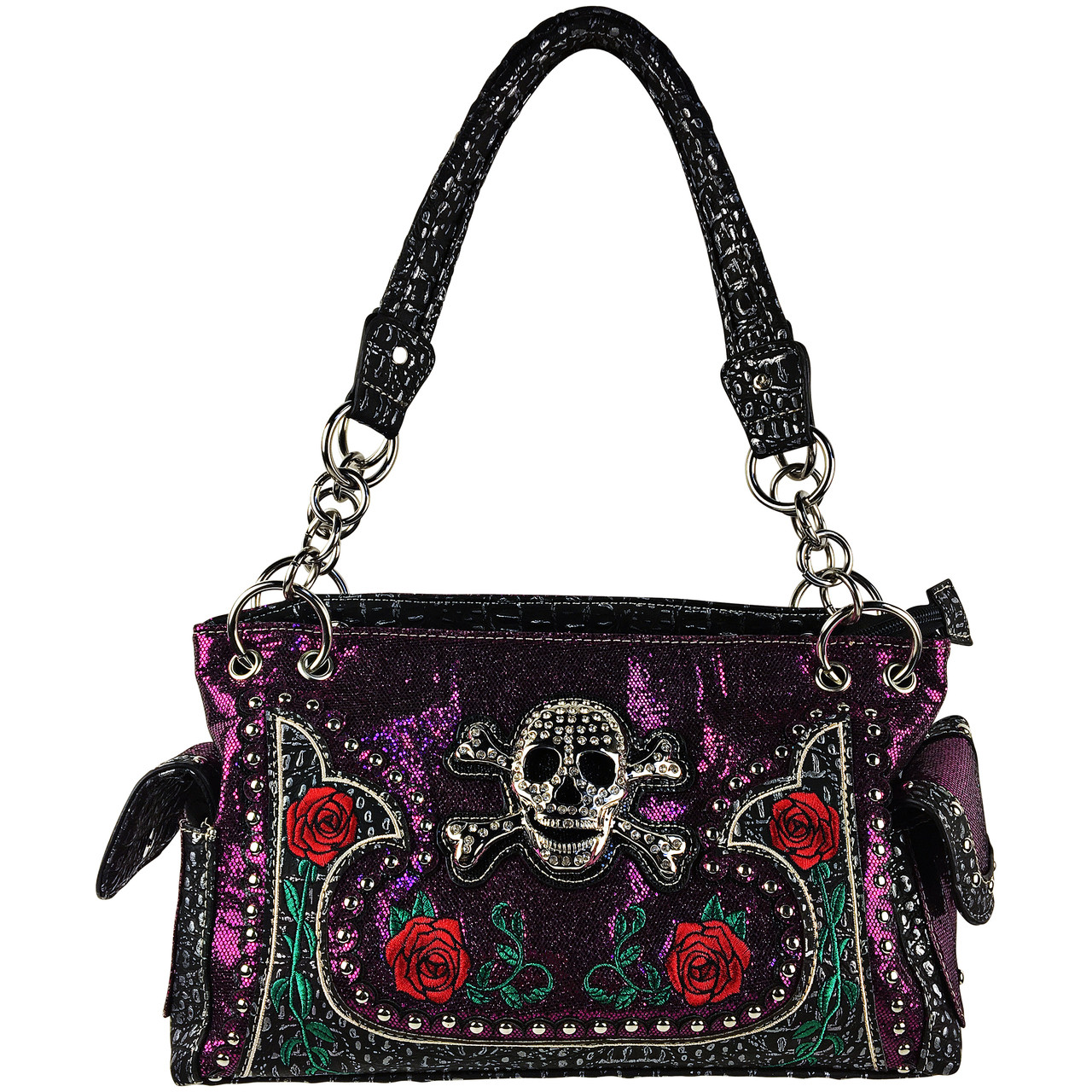 PURPLE RHINESTONE GLITTER SKULL LOOK SHOULDER HANDBAG