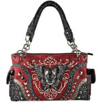 RED RHINESTONE STUDDED SKULL WITH WINGS LOOK SHOULDER HANDBAG HB1-KW22WRED