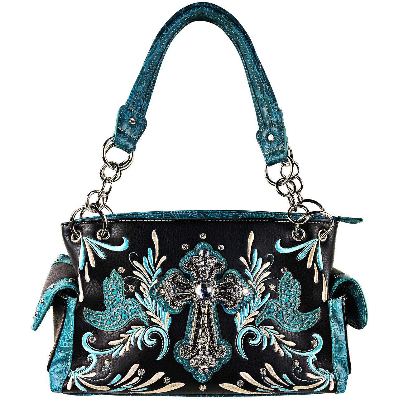 TURQUOISE RHINESTONE STUDDED CROSS LOOK SHOULDER HANDBAG