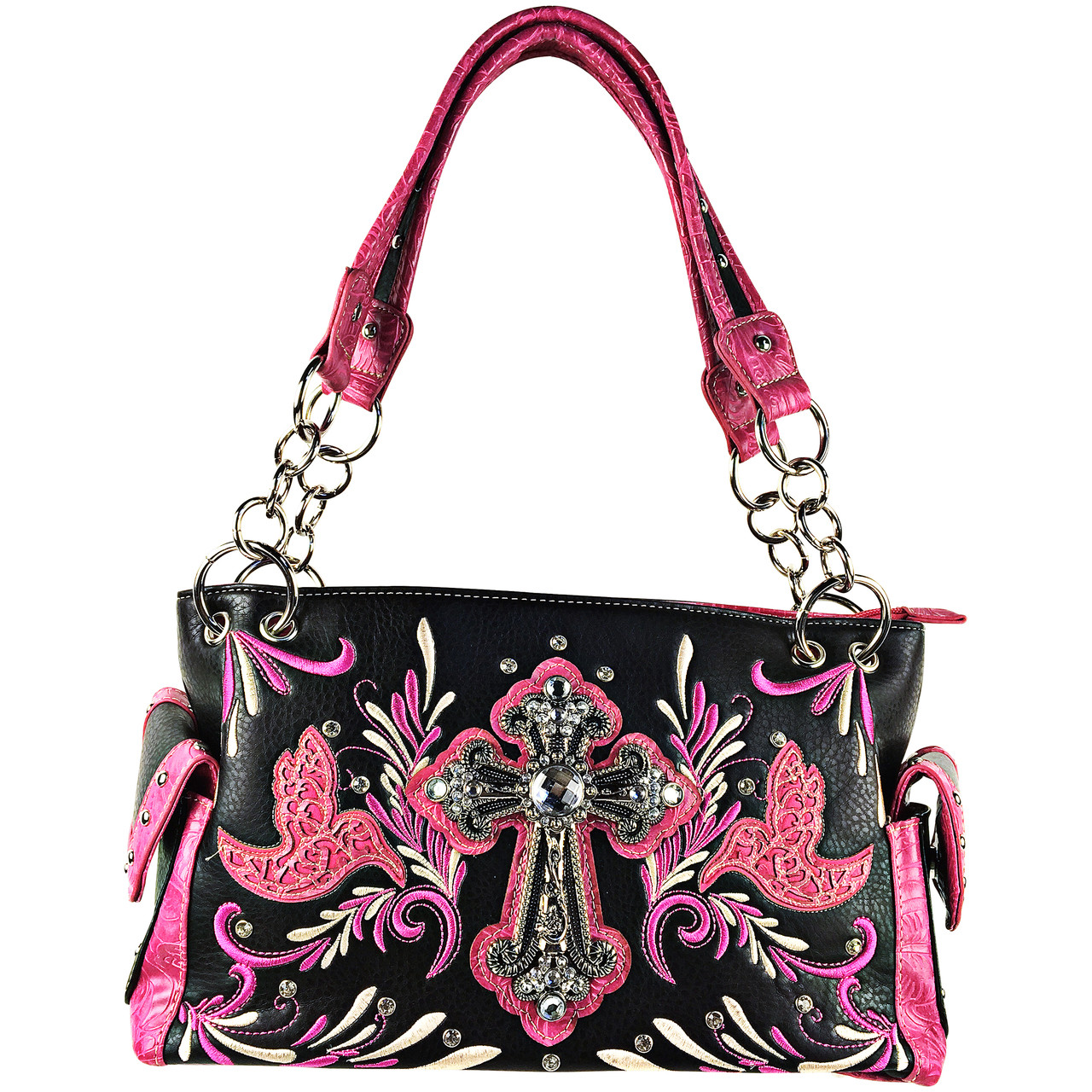 HOT PINK RHINESTONE STUDDED CROSS LOOK SHOULDER HANDBAG
