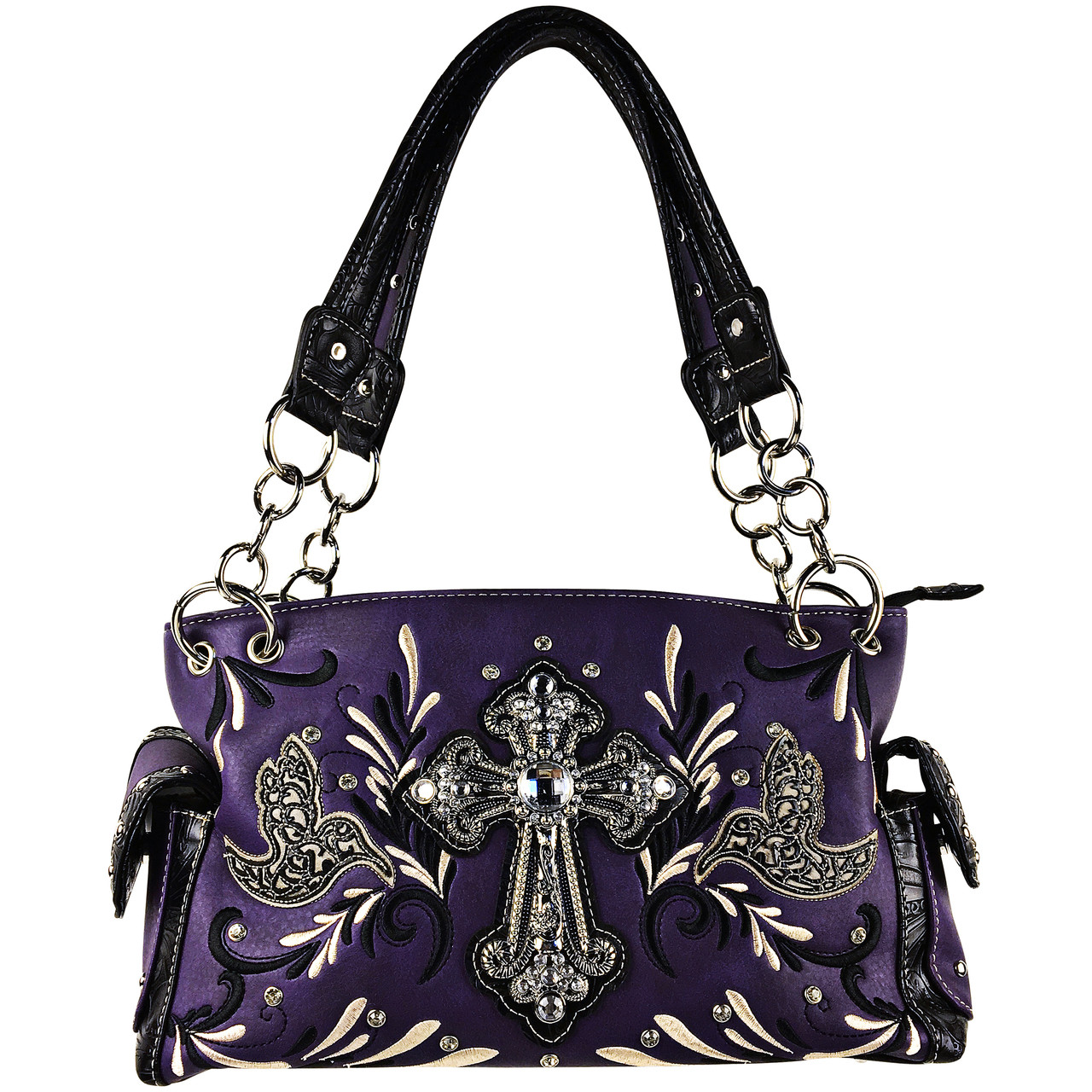 PURPLE RHINESTONE STUDDED CROSS LOOK SHOULDER HANDBAG