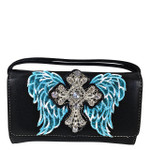 BLACK WITH TURQUOISE WINGS WITH RHINESTONE CROSS LOOK CLUTCH TRIFOLD WALLET CW1-0477BLK/TRQ
