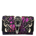 PURPLE MOSSY CAMO STUDDED BUCKLE LOOK CLUTCH TRIFOLD WALLET CW1-1281PPL