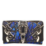 BLUE MOSSY CAMO STUDDED BUCKLE LOOK CLUTCH TRIFOLD WALLET CW1-1281BLU