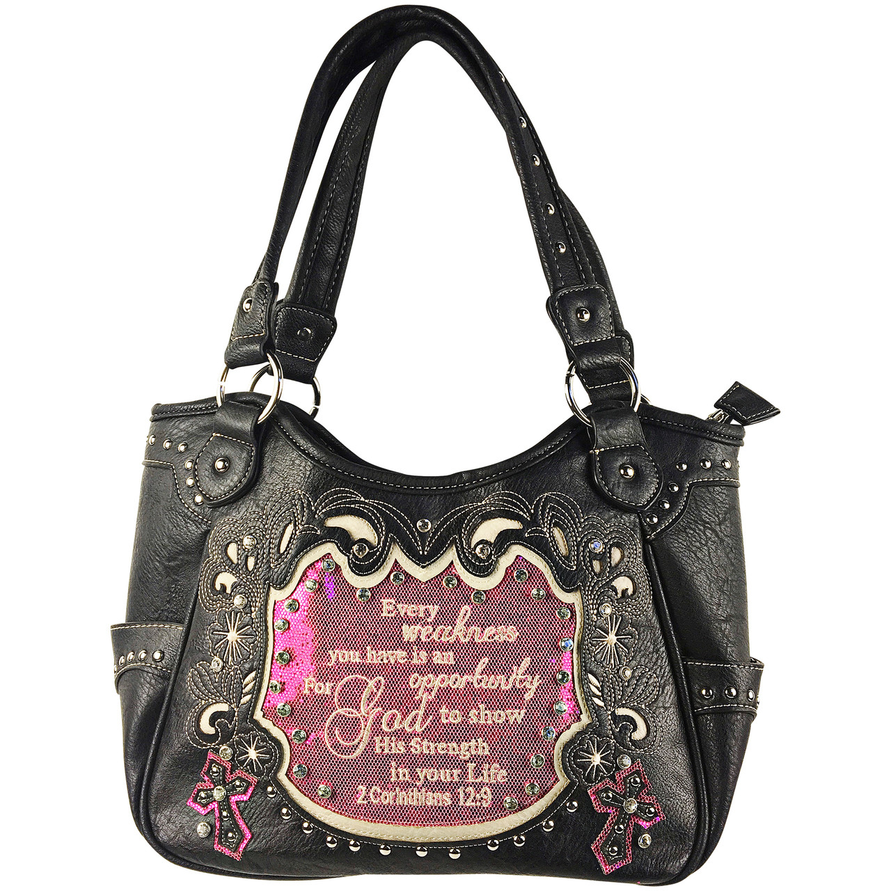 HOT PINK BIBLE LIFE QUOTE RHINESTONE STUDDED LOOK SHOULDER HANDBAG