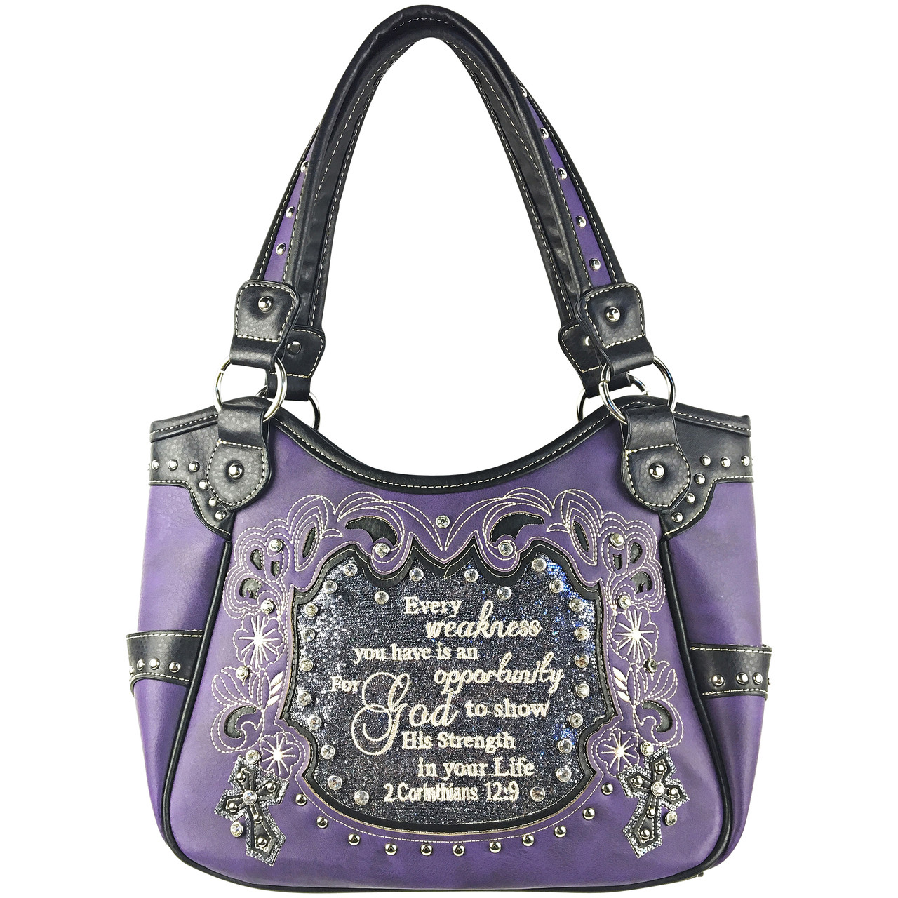 PURPLE BIBLE LIFE QUOTE RHINESTONE STUDDED LOOK SHOULDER HANDBAG