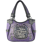 PURPLE BIBLE LIFE QUOTE RHINESTONE STUDDED LOOK SHOULDER HANDBAG HB1-SLIFEPPL
