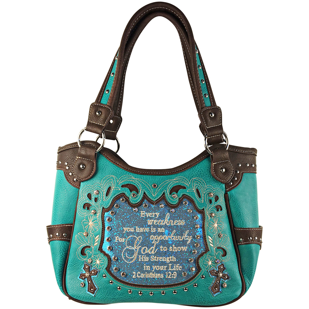 TURQUOISE BIBLE LIFE QUOTE RHINESTONE STUDDED LOOK SHOULDER HANDBAG