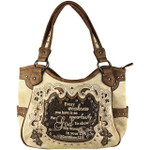 BEIGE BIBLE LIFE QUOTE RHINESTONE STUDDED LOOK SHOULDER HANDBAG HB1-SLIFEBEI