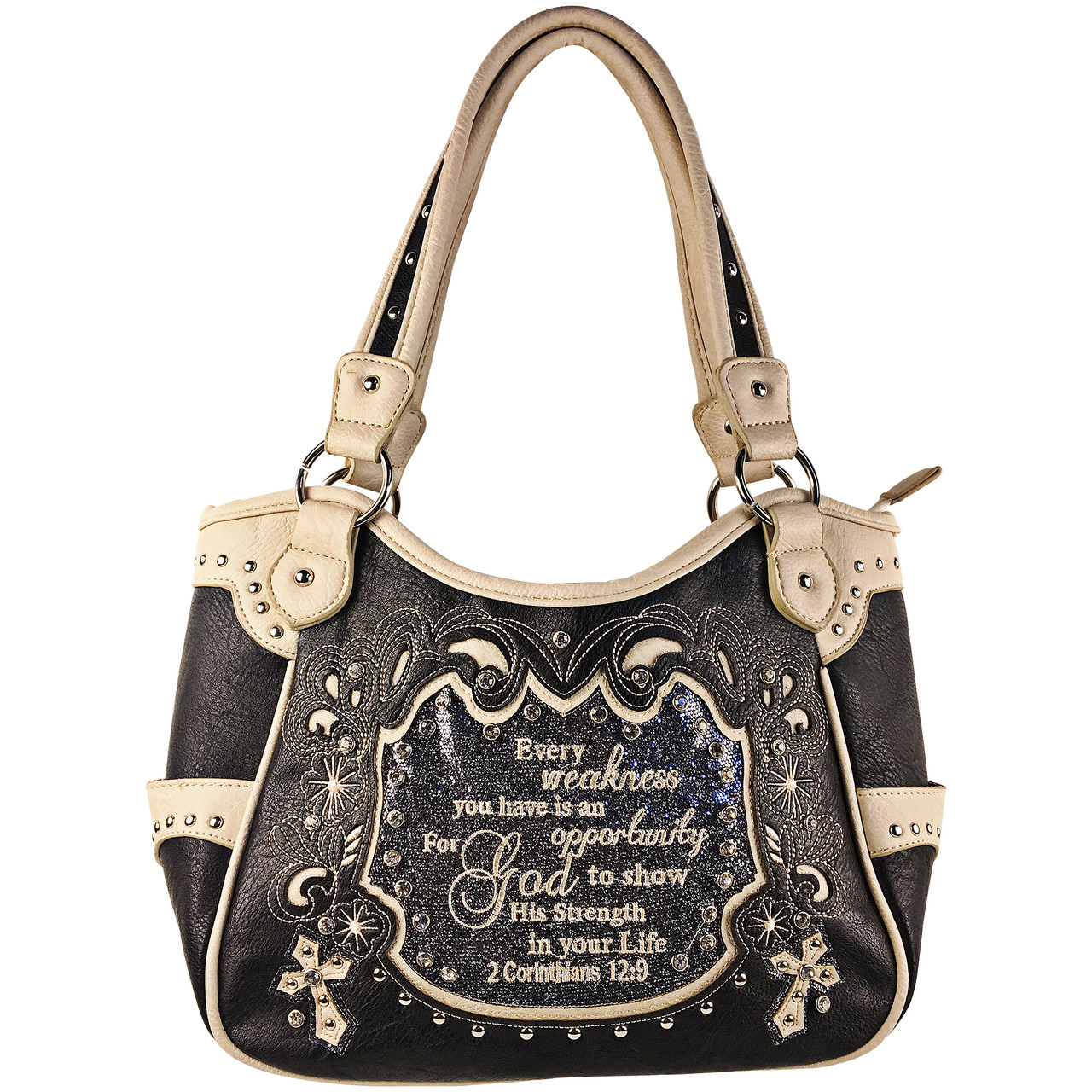 GRAY BIBLE LIFE QUOTE RHINESTONE STUDDED LOOK SHOULDER HANDBAG