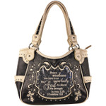 GRAY BIBLE LIFE QUOTE RHINESTONE STUDDED LOOK SHOULDER HANDBAG HB1-SLIFEGRY