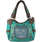 TURQUOISE BIBLE LOVE QUOTE RHINESTONE STUDDED LOOK SHOULDER HANDBAG HB1-SLOVETRQ