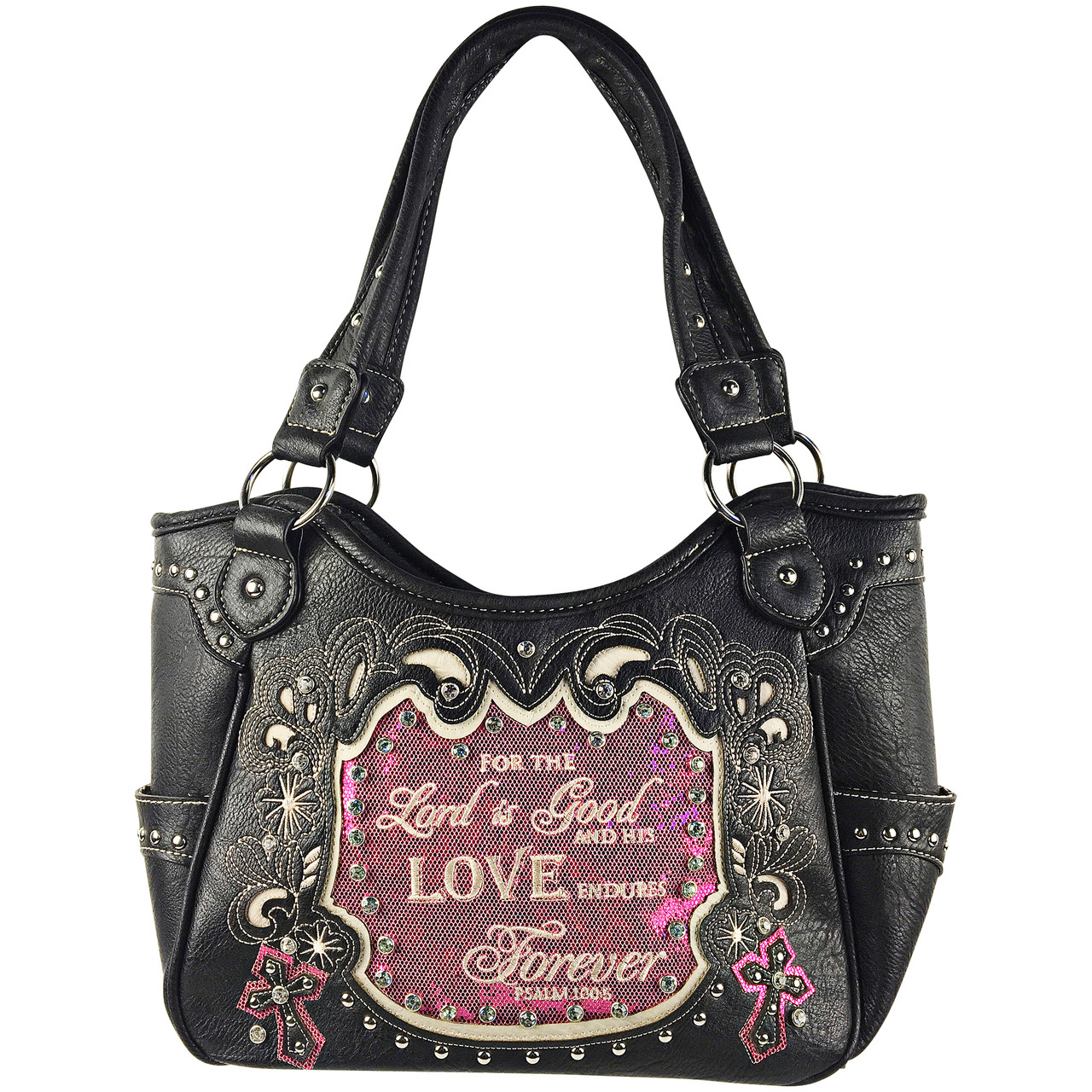HOT PINK BIBLE LOVE QUOTE RHINESTONE STUDDED LOOK SHOULDER HANDBAG