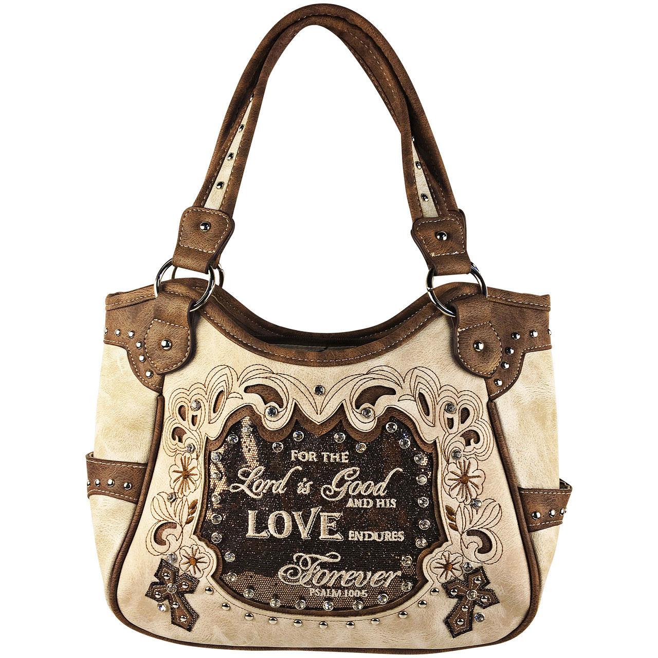 BEIGE BIBLE LOVE QUOTE RHINESTONE STUDDED LOOK SHOULDER HANDBAG
