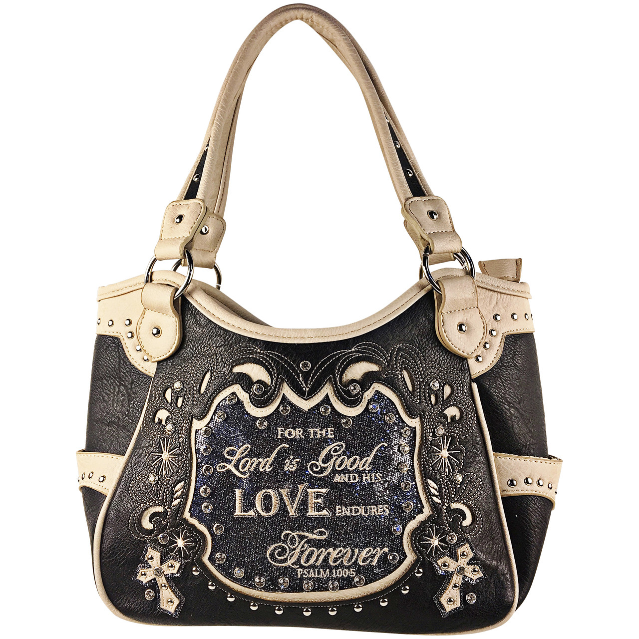 GRAY BIBLE LOVE QUOTE RHINESTONE STUDDED LOOK SHOULDER HANDBAG