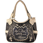 GRAY BIBLE LOVE QUOTE RHINESTONE STUDDED LOOK SHOULDER HANDBAG HB1-SLOVEGRY