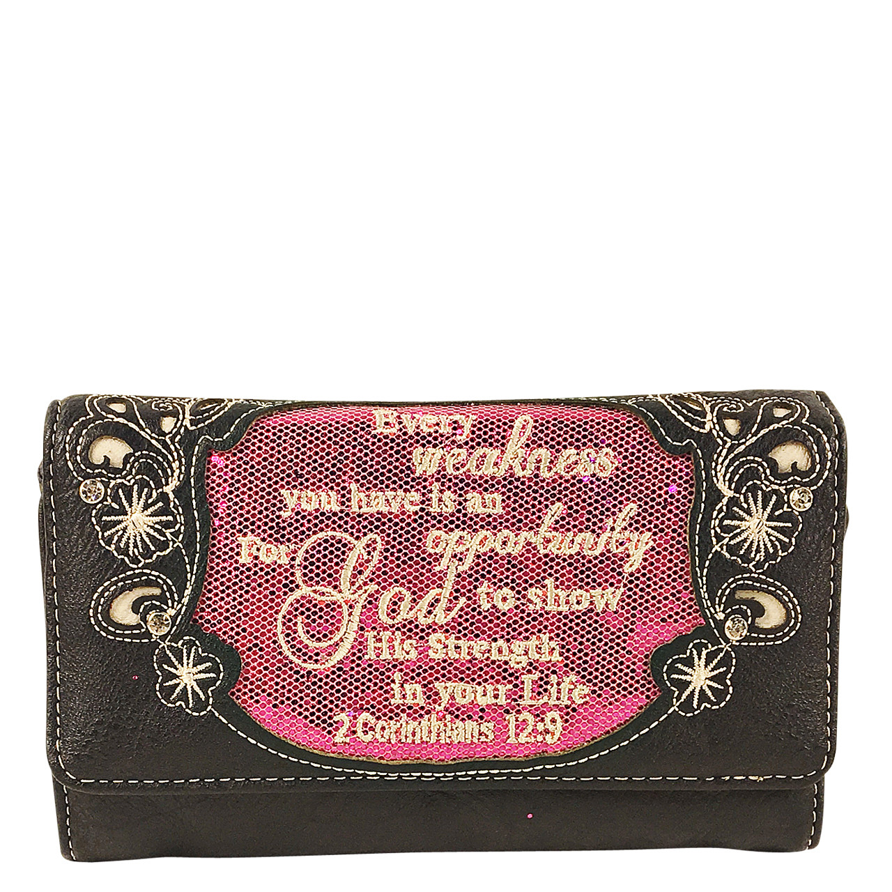 HOT PINK BIBLE LIFE QUOTE RHINESTONE STUDDED LOOK CLUTCH TRIFOLD WALLET