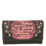 HOT PINK BIBLE LIFE QUOTE RHINESTONE STUDDED LOOK CLUTCH TRIFOLD WALLET CW1-1295HPK