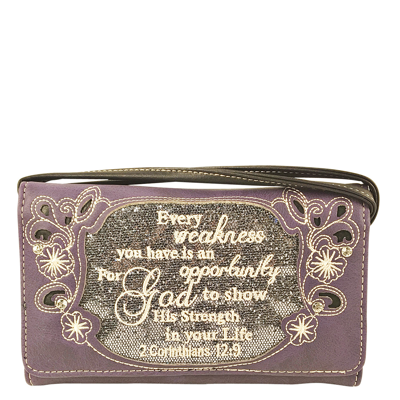 PURPLE BIBLE LIFE QUOTE RHINESTONE STUDDED LOOK CLUTCH TRIFOLD WALLET