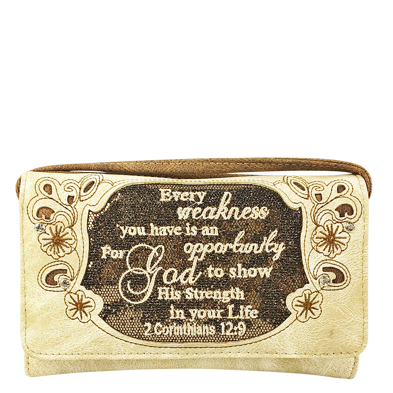 BEIGE BIBLE LIFE QUOTE RHINESTONE STUDDED LOOK CLUTCH TRIFOLD WALLET