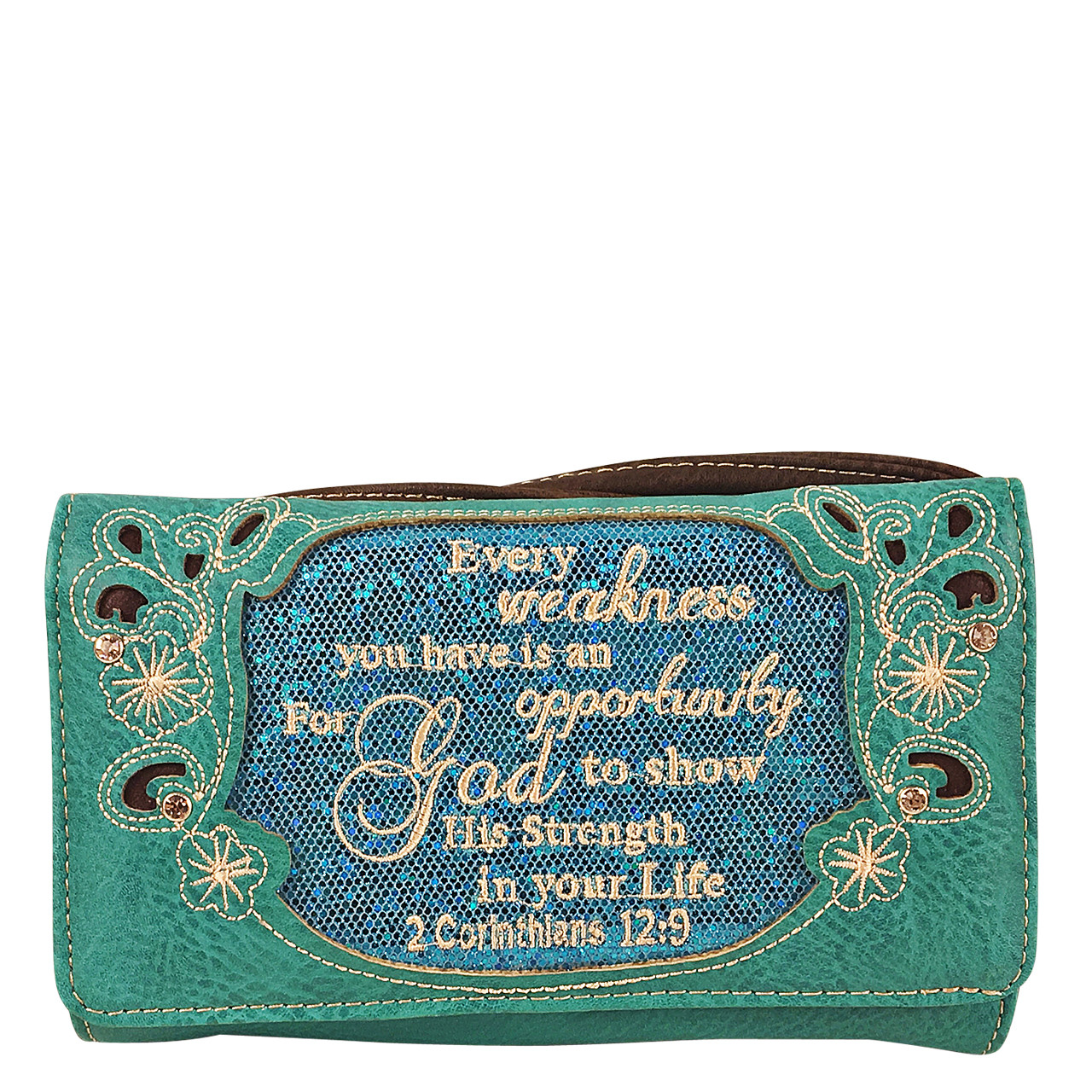 TURQUOISE BIBLE LIFE QUOTE RHINESTONE STUDDED LOOK CLUTCH TRIFOLD WALLET