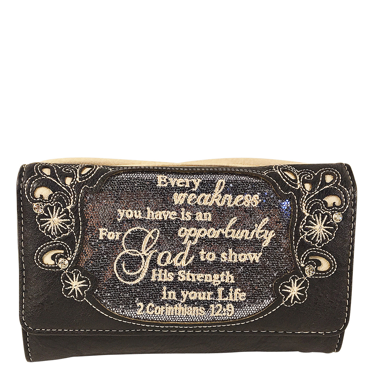 GRAY BIBLE LIFE QUOTE RHINESTONE STUDDED LOOK CLUTCH TRIFOLD WALLET