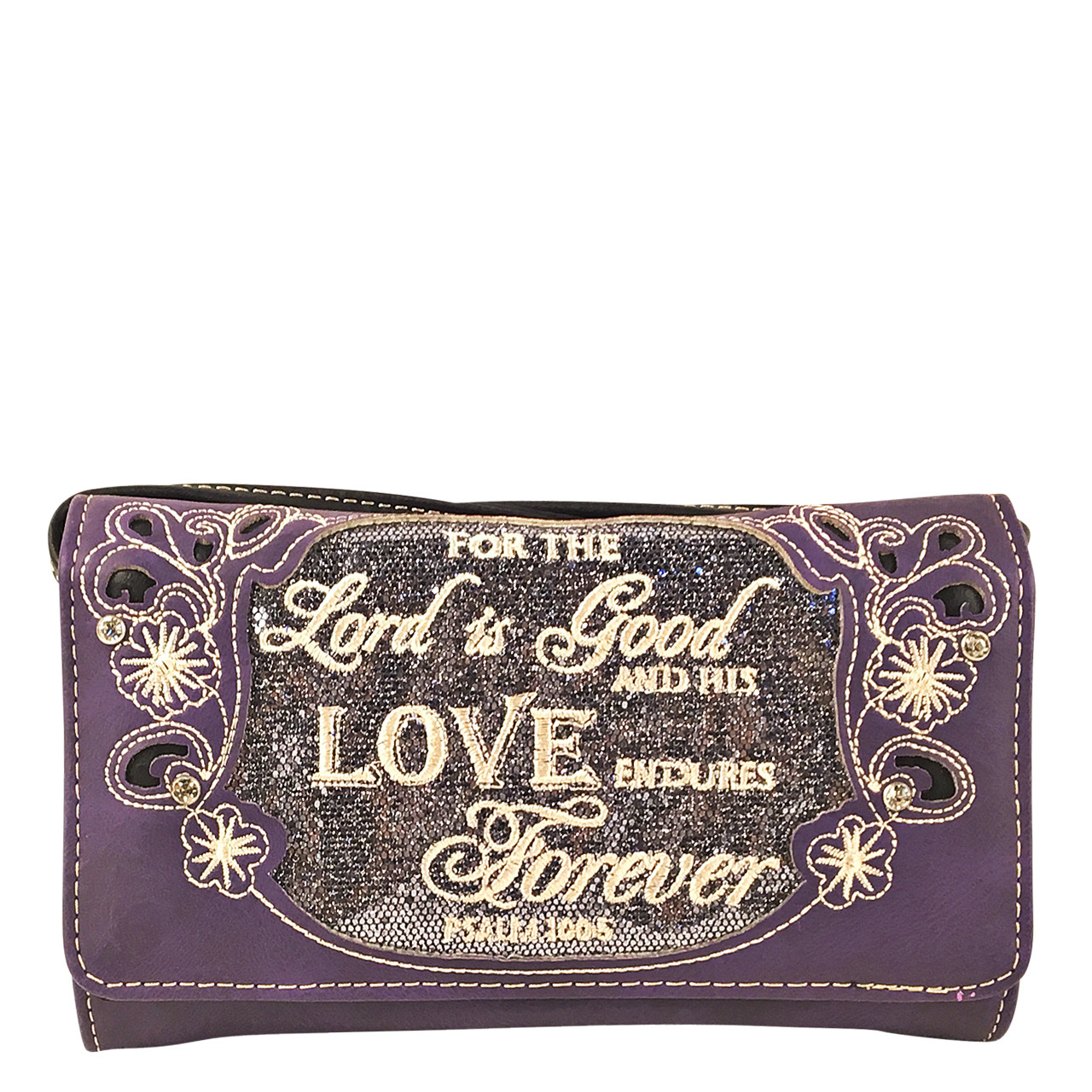 PURPLE BIBLE LOVE QUOTE RHINESTONE STUDDED LOOK CLUTCH TRIFOLD WALLET