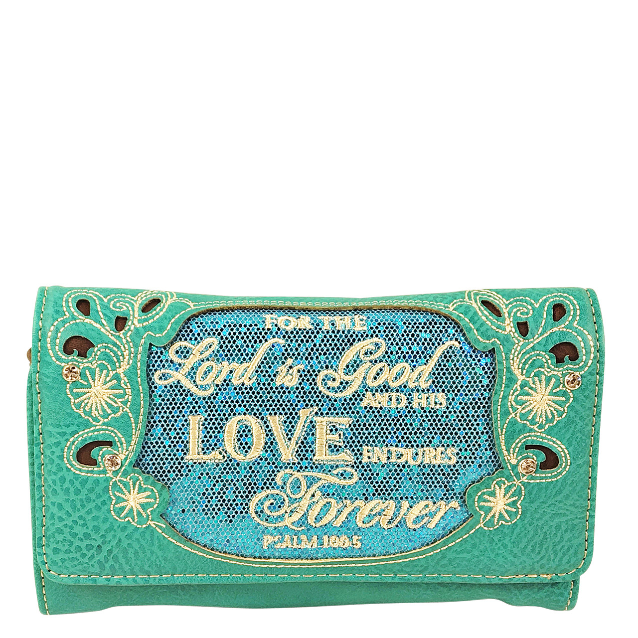 TURQUOISE BIBLE LOVE QUOTE RHINESTONE STUDDED LOOK CLUTCH TRIFOLD WALLET