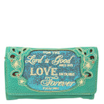 TURQUOISE BIBLE LOVE QUOTE RHINESTONE STUDDED LOOK CLUTCH TRIFOLD WALLET CW1-1294TRQ