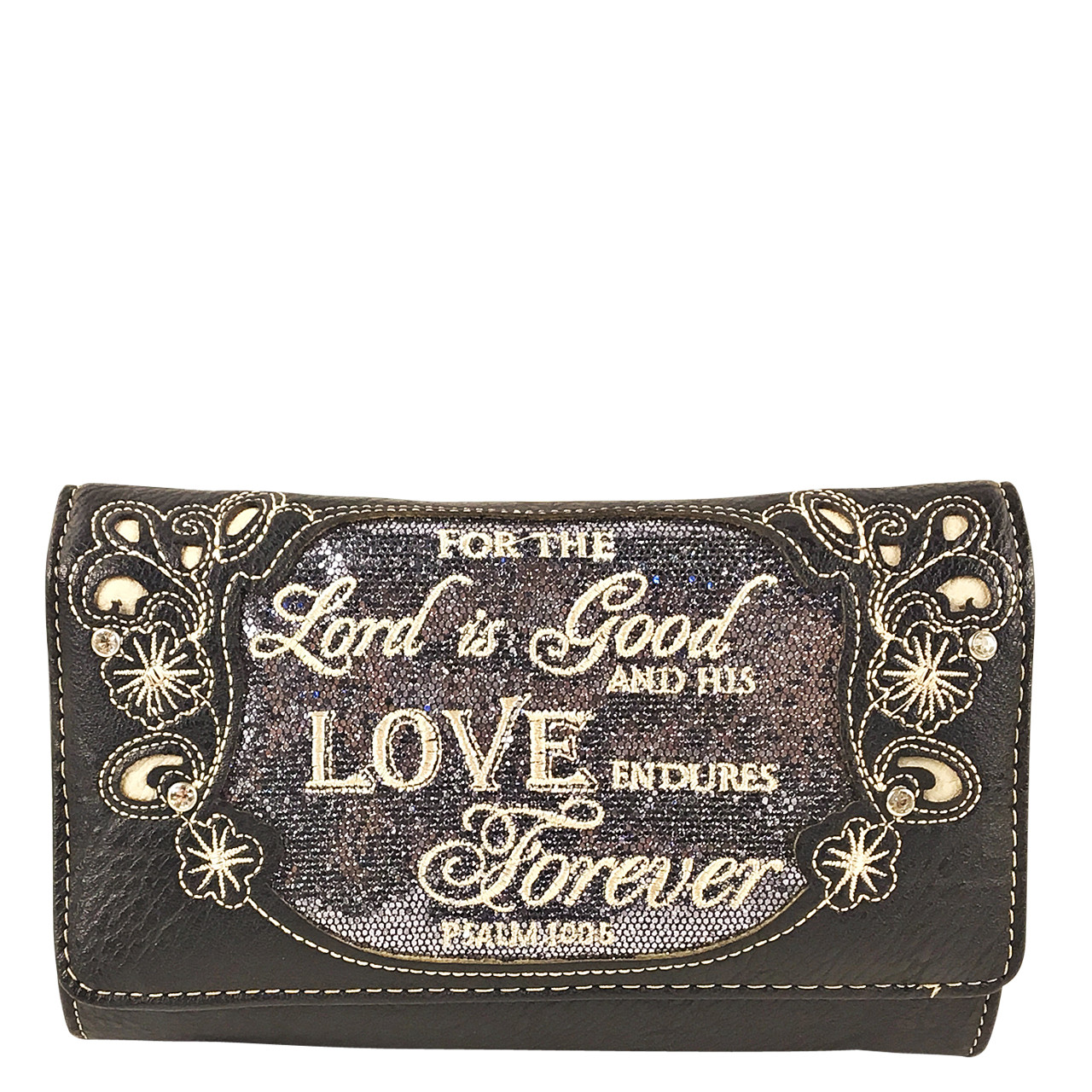 GRAY BIBLE LOVE QUOTE RHINESTONE STUDDED LOOK CLUTCH TRIFOLD WALLET