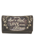 GRAY BIBLE LOVE QUOTE RHINESTONE STUDDED LOOK CLUTCH TRIFOLD WALLET CW1-1294GRY