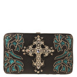 TURQUOISE FLORAL CROSS STUDDED RHINESTONE CROSS WITH WINGS LOOK FLAT THICK WALLET FW2-04133TRQ
