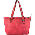 HOT PINK STUDDED LEATHERETTE LOOK SHOULDER HANDBAG WITH MESSENGER BAG HB1-HC0068HPK