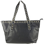BLACK STUDDED LEATHERETTE LOOK SHOULDER HANDBAG WITH MESSENGER BAG HB1-HC0068BLK