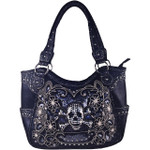 BLACK FLOWER WITH RHINESTONE SKULL STUDDED LEATHERETTE LOOK SHOULDER HANDBAG WITH MESSENGER BAG HB1-W107JBLK