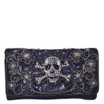 BLACK FLOWER RHINESTONE SKULL STUDDED LOOK CLUTCH TRIFOLD WALLET CW1-1296BLK