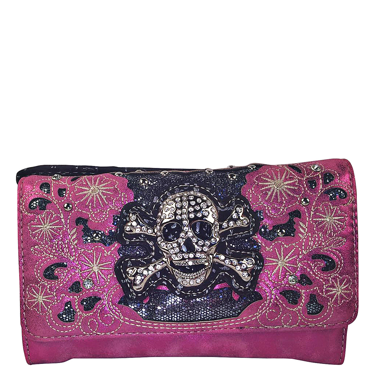 HOT PINK FLOWER RHINESTONE SKULL STUDDED LOOK CLUTCH TRIFOLD WALLET